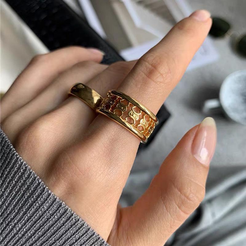 French retro fashion Arc de Triomphe ring female creative design sense hollow metal texture temperament index finger ring