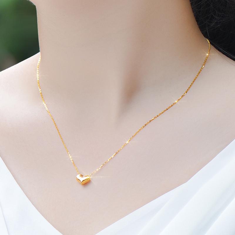 彩金18K金项链女款玫瑰金黄金au750心形吊坠细锁骨链正品K金首饰