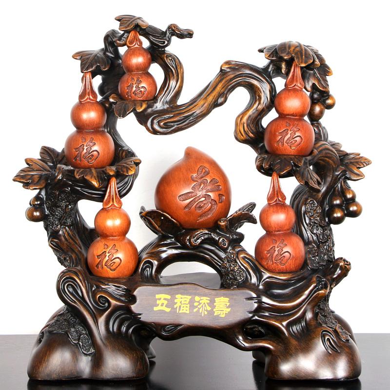 五福添寿桃葫芦工艺品摆件送父母长辈老人的生日礼物贺-老人礼品(臻钰旗舰店仅售199元)