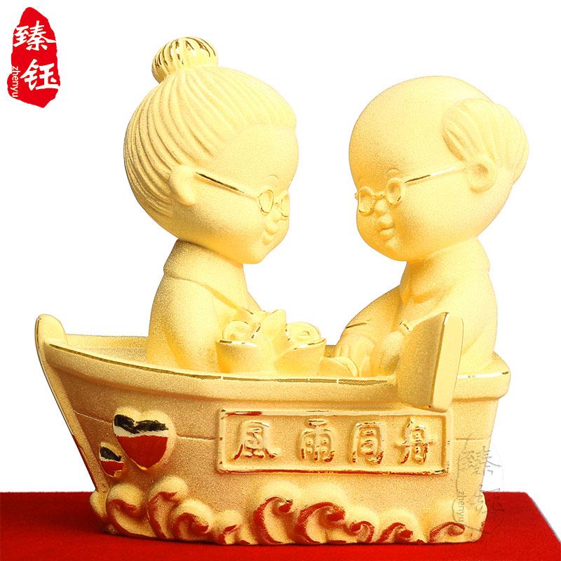 绒沙金工艺礼品装饰摆件风雨同舟结婚金婚银婚纪念礼物周年纪念日
