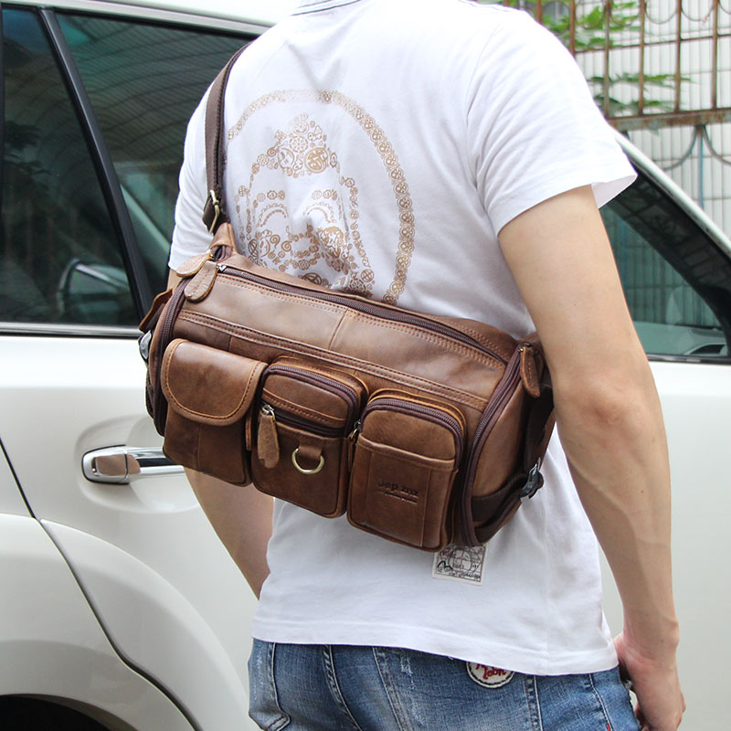Leather chest bag, mens head layer, cow leather multi-function waist bag, retro leisure messenger bag, Camera Backpack, outdoor riding bag