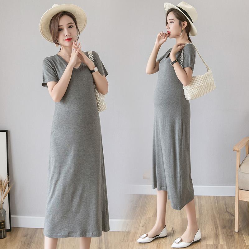 孕妇装夏季短袖长裙时尚辣妈莫代尔长款家居裙外出夏装孕妇连衣裙图片