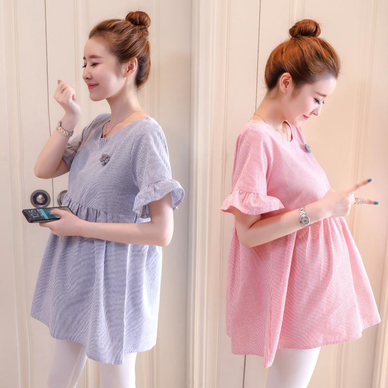 孕妇装短袖上衣夏季2020韩版孕妇短款T恤外穿百搭娃娃衫孕妇裙子图片