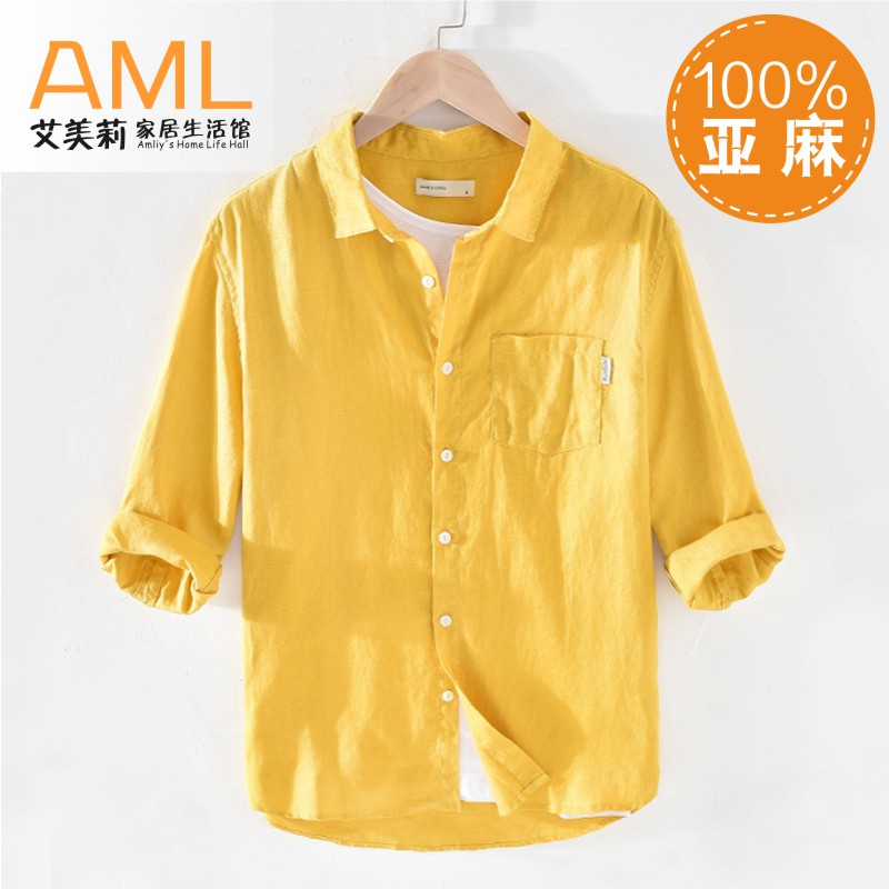 1806 summer new linen shirt mens youth loose and breathable square collar 3 / 4 sleeve casual mens wear