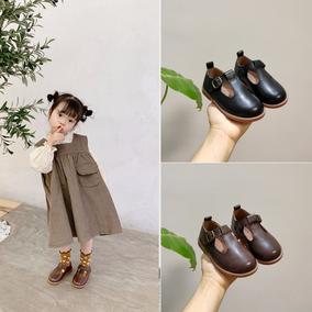2020韩版女童真皮小童单鞋丁字皮鞋