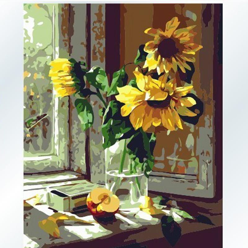 DIY DIY цифровая картина маслом ручная роспись маслом картина маслом, цветной рисунок подсолнечника окна номера 40 * 50