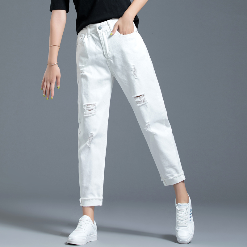 White pants with holes, jeans, women's straight tube loose, Harun 2020 new summer thin nine point pants, Dad's pants