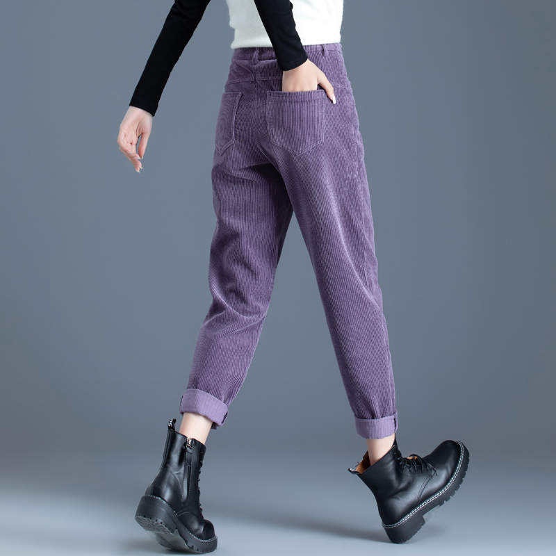 紫色条绒裤子女秋冬加绒2021女裤