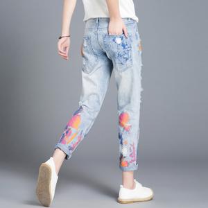 休闲印花破洞牛仔裤女直筒宽松2020新款夏季女士九分老爹裤哈伦裤