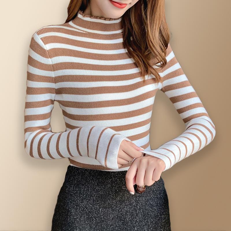 2020春季新款韩版条纹半高领套头长袖针织打底衫毛衣女百搭上衣服