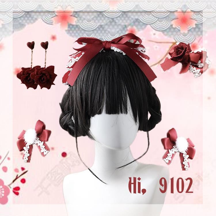 2019新款LOLITA洛丽塔KC酒红绀色发箍发夹耳环她们的故饰会原创