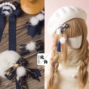 和風日系手作蝴蝶結髮夾 紺色原創設計她們的故飾會DIY髮飾品頭飾