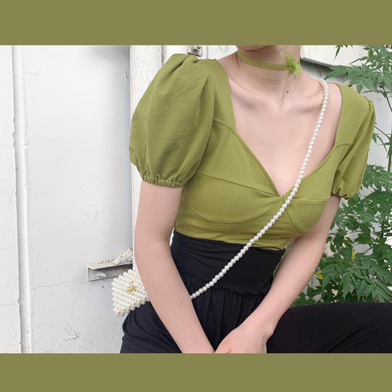 牛油果绿泡泡袖上衣2019法式方领短款收腰复古宫廷风短袖女夏(用1元券)