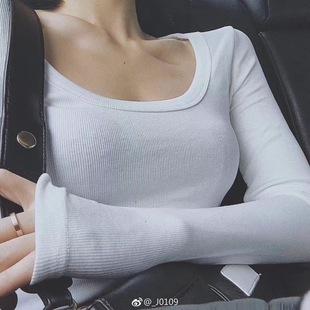 春秋冬紧身显胸打底衫U领低胸性感大领口纯棉长袖t恤女小心机上衣
