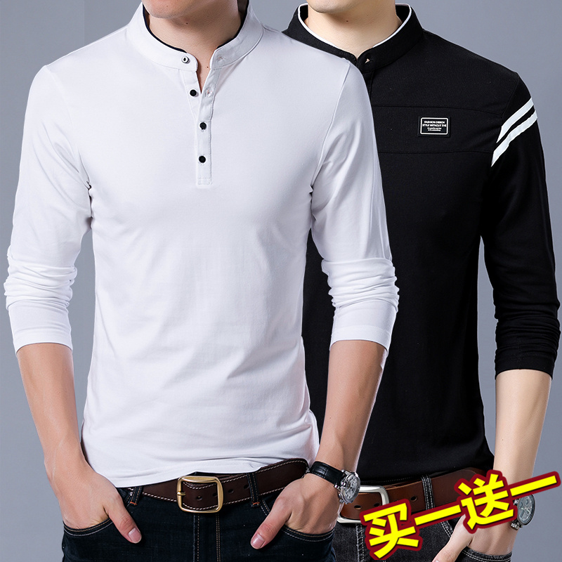 Long sleeve t-shirt mens standing collar bottoming shirt autumn winter cotton clothes mens casual polo shirt mens wear Plush thickening