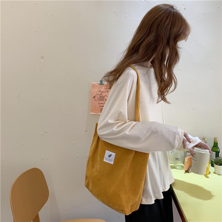 日系灯芯绒帆布包ins女学生单肩手提布袋原宿大容量ulzzang上课包