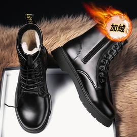 马丁靴男高帮保暖冬季黑色雪地棉鞋机车皮鞋中帮加绒工装英伦男靴图片