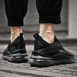 春季百搭男鞋子全黑色运动休闲鞋减震全气垫旅游跑步潮鞋健身网鞋