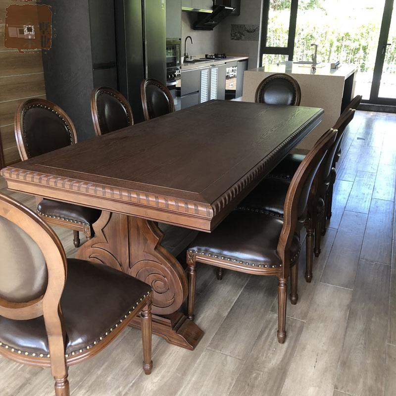 アメリカ料理のテーブルとテーブルの組み合わせの大きさの部屋型レストランの長方形の食事テーブル家庭用のオーク8人のテーブル
