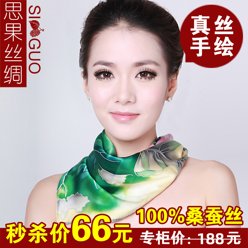 Silk scarves, silk scarves, spring and autumn women, Hangzhou silk, mulberry, silk, all kinds of national style scarves, fashionable hand-painted small square scarves