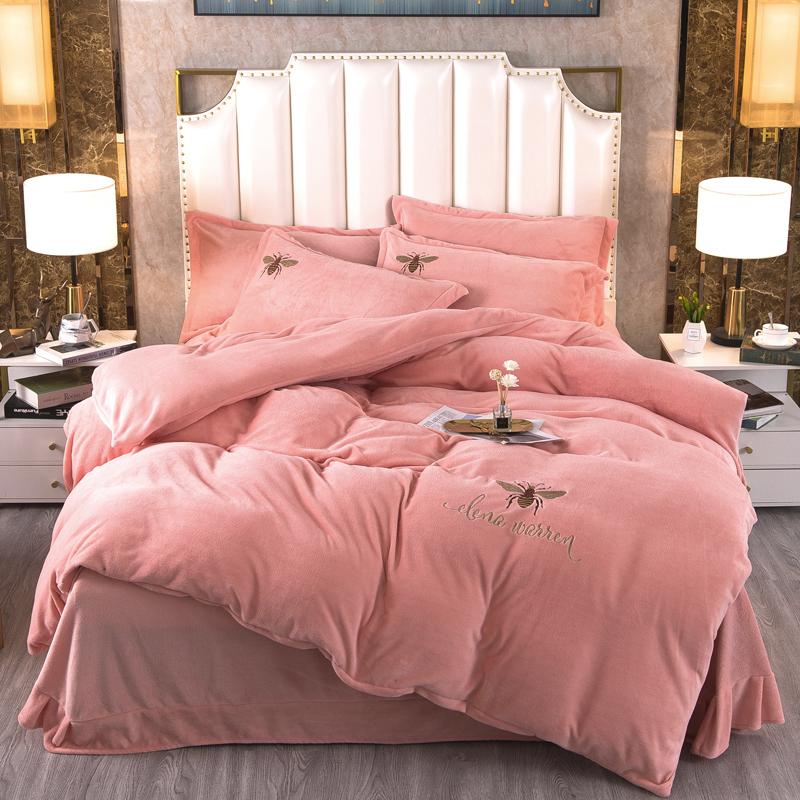 加厚牛奶绒四件套双面绒冬季保暖珊瑚绒水晶绒被套床单法莱绒印花