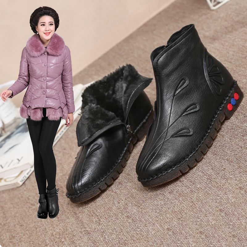妈妈鞋加绒保暖真皮老人棉鞋平底防滑中年女鞋软底舒适中跟女短靴