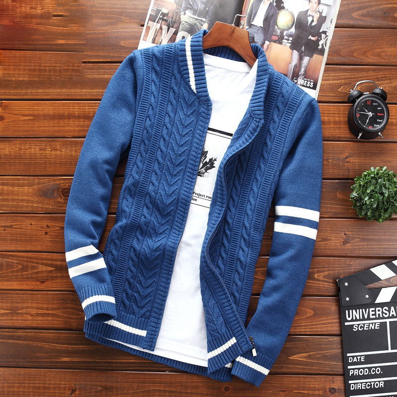 Spring and autumn men's youth fashion casual 2021 new sweater men's Korean style slim student sweater coat trend