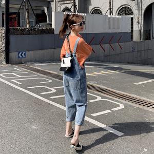 八分小个子牛仔韩版宽松减龄背带裤
