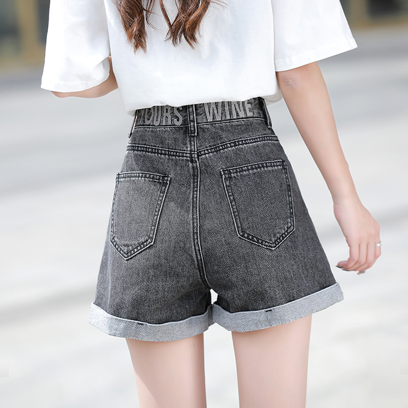 Real photo Embroidered Denim Shorts womens summer 2021 New High Waist Wide Leg slim and loose flanging daddy shorts