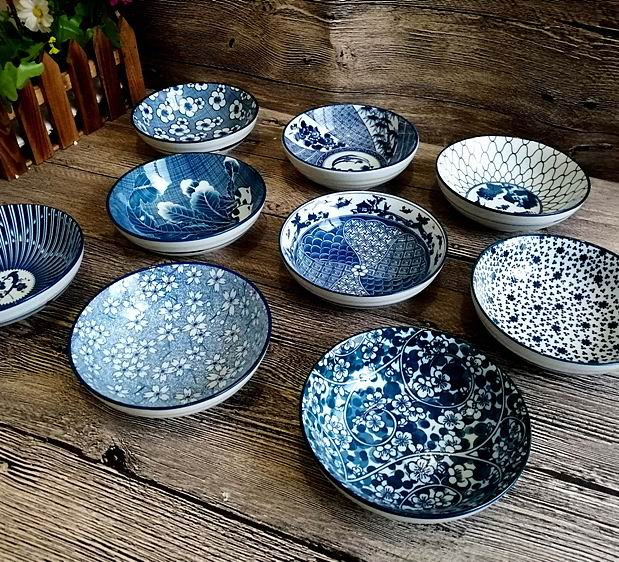 Chinese blue and white porcelain bowl, underglaze color, Korean ceramic bowl, chopsticks, rice bowl, tableware, dish set, retro porcelain bowl, package and post