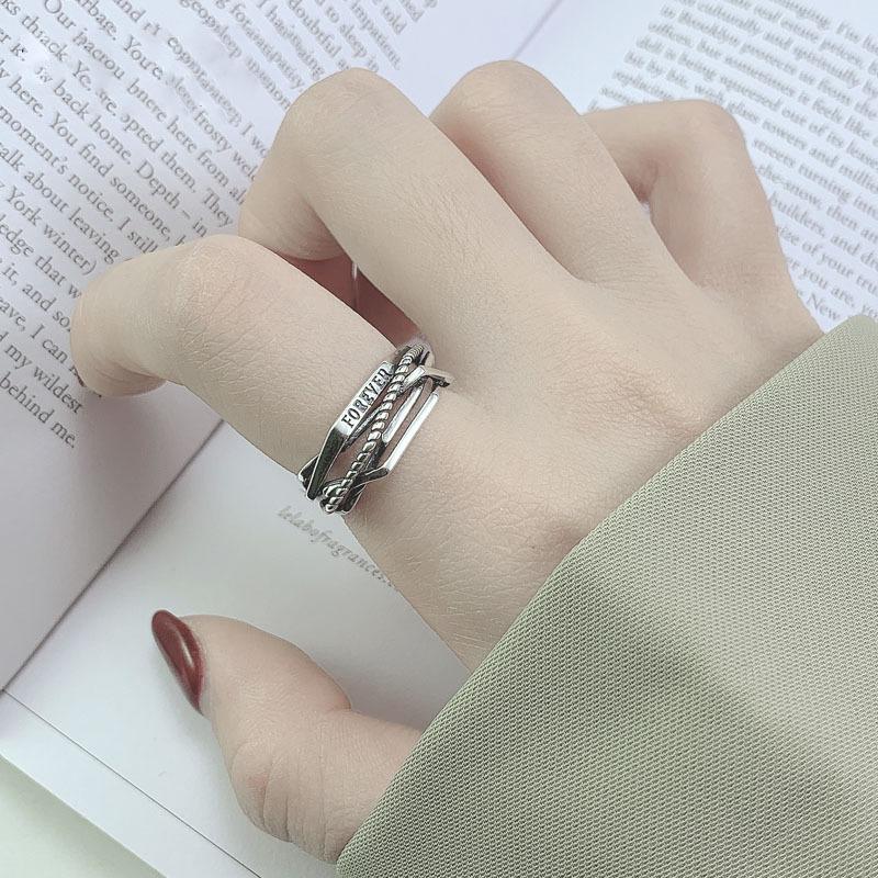 Retro multi layer winding diamond ring womens Korean personalized letter ring small fresh opening ring