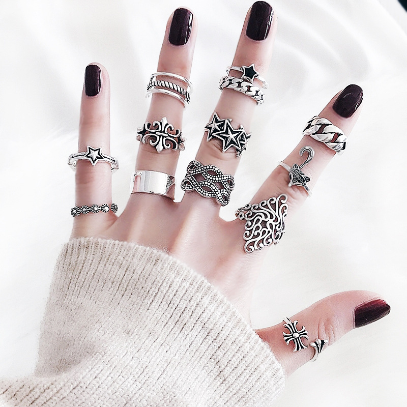 Japanese and Korean Chaozhou peoples Retro ring womens old cross index finger opening adjustable ring small tail ring
