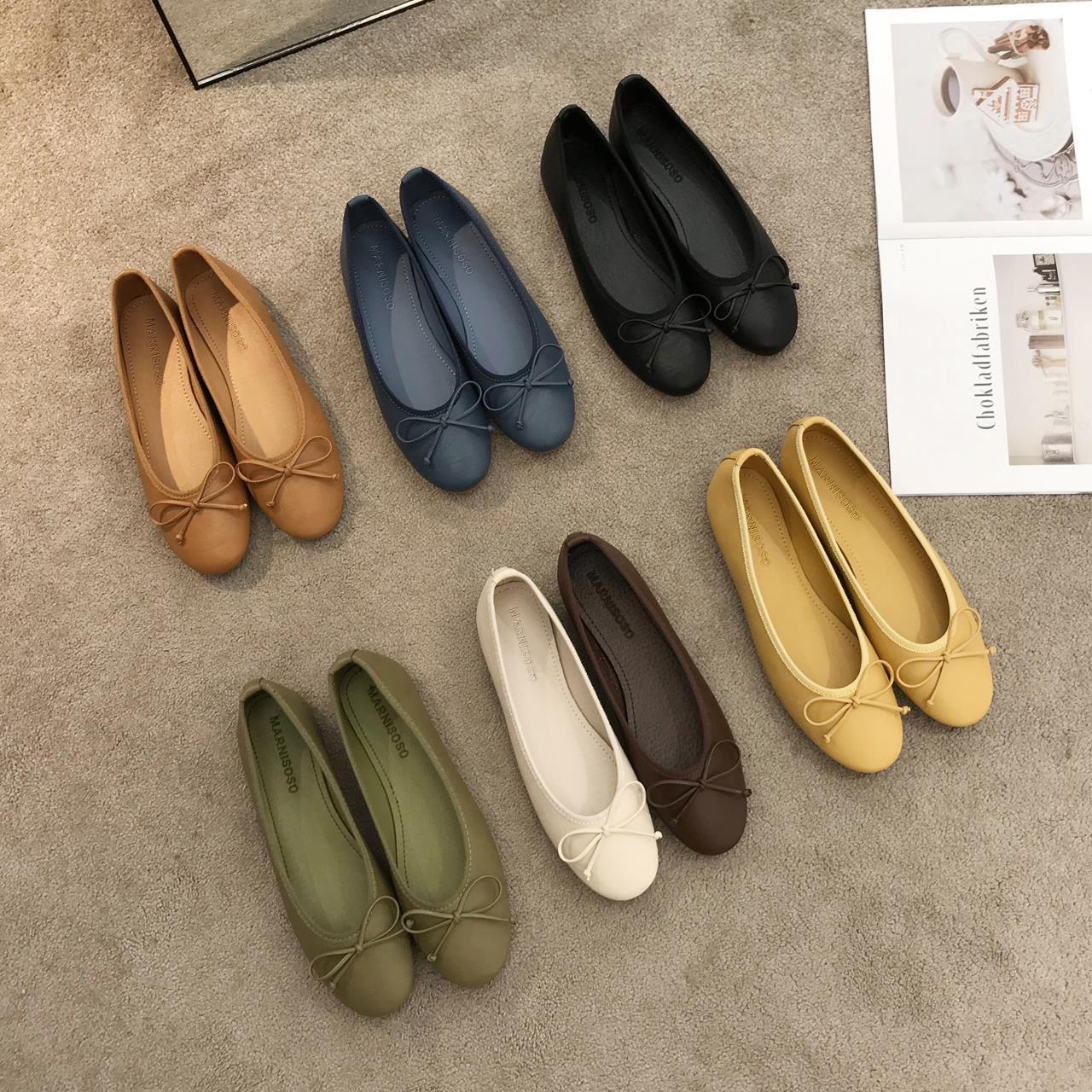 Famous lanbaili soft sister Series ~ Korean version simple round head grandma shoes ballet Bow Soft Leather comfortable flat bottom