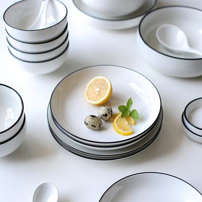 川岛屋欧式黑线陶瓷餐具碗盘子菜盘碟子单个创意网红北欧餐盘家用