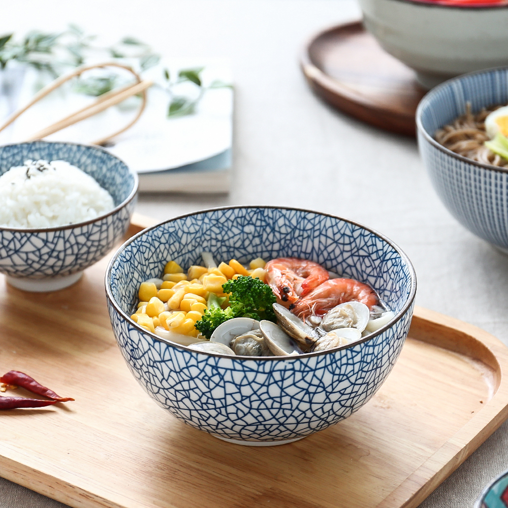 9.90元包邮川岛屋家用碗单个陶瓷碗饭碗大号面碗汤碗吃米饭碗创意个性泡面碗