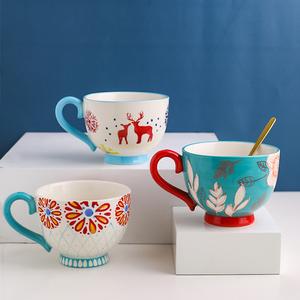 川岛屋陶瓷早餐杯燕麦家用酸牛奶杯