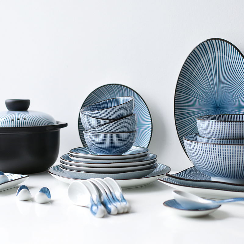 川岛屋釉下彩复古日式陶瓷器餐具家庭多人套装碗盘子碗碟套装家用