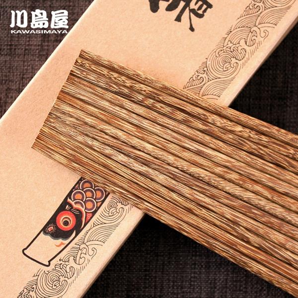 川島屋 天然無漆無蠟雞翅木原木筷子日式餐具鯉魚旗 10雙裝