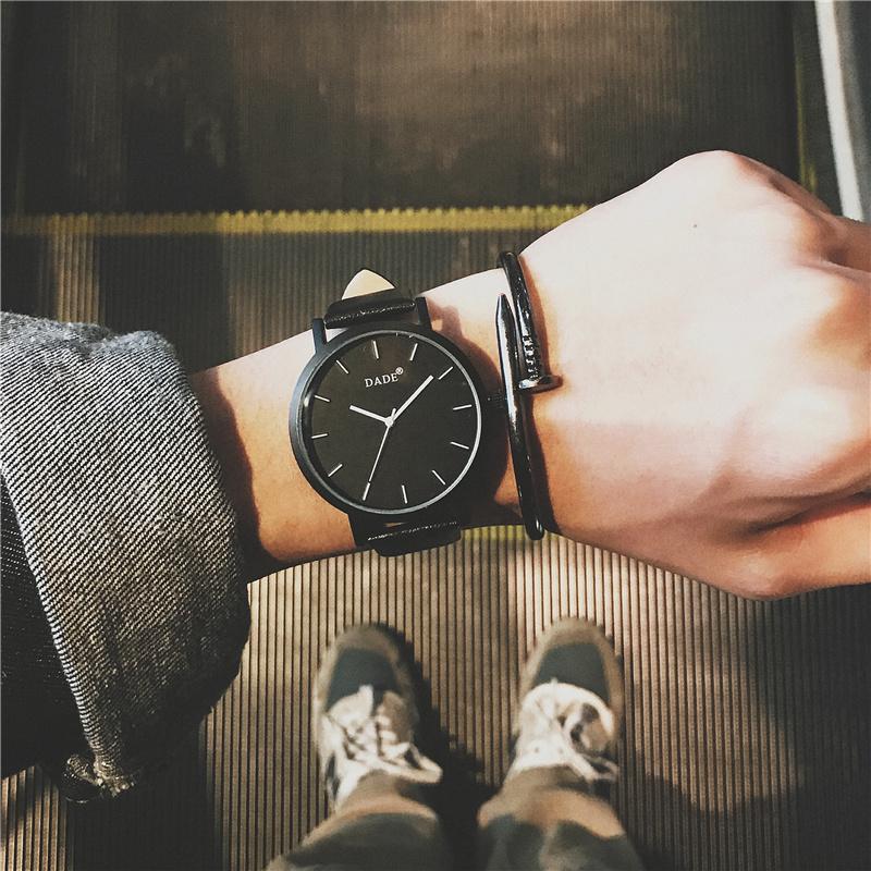 韩版简约手表高中女学生潮男皮带防水个性复古黑时尚潮流休闲大气