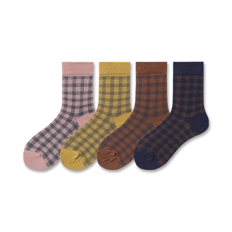 LIFEDIFF日系细腻格子女士中筒袜复古学院风全棉韩版袜子春夏秋季限1000张券