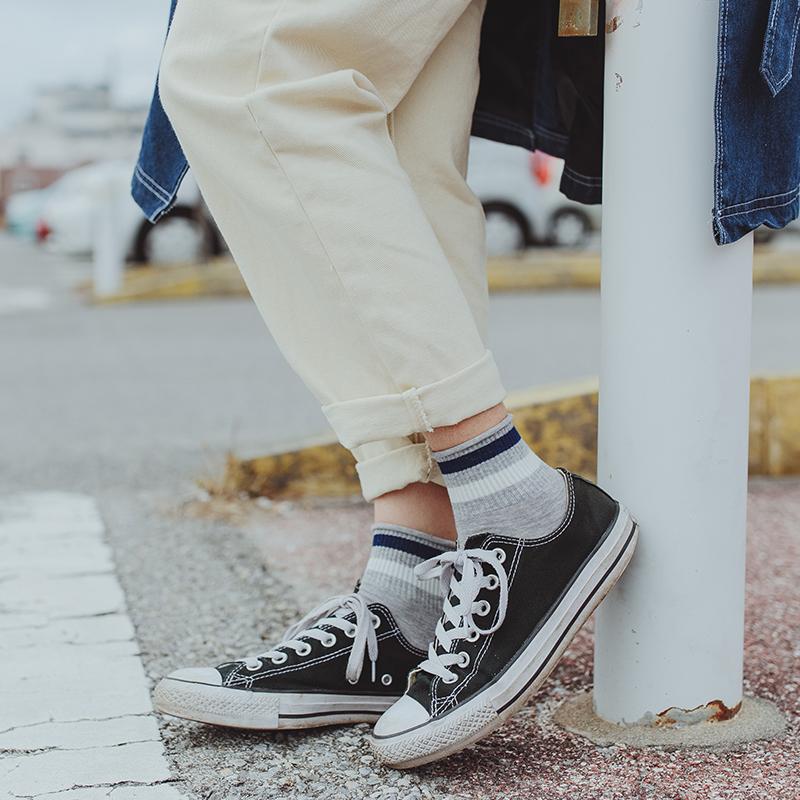 限8000张券LIFEDIFF春夏季纯棉两条杠中筒袜日系学院风短袜韩版卷边条纹女袜