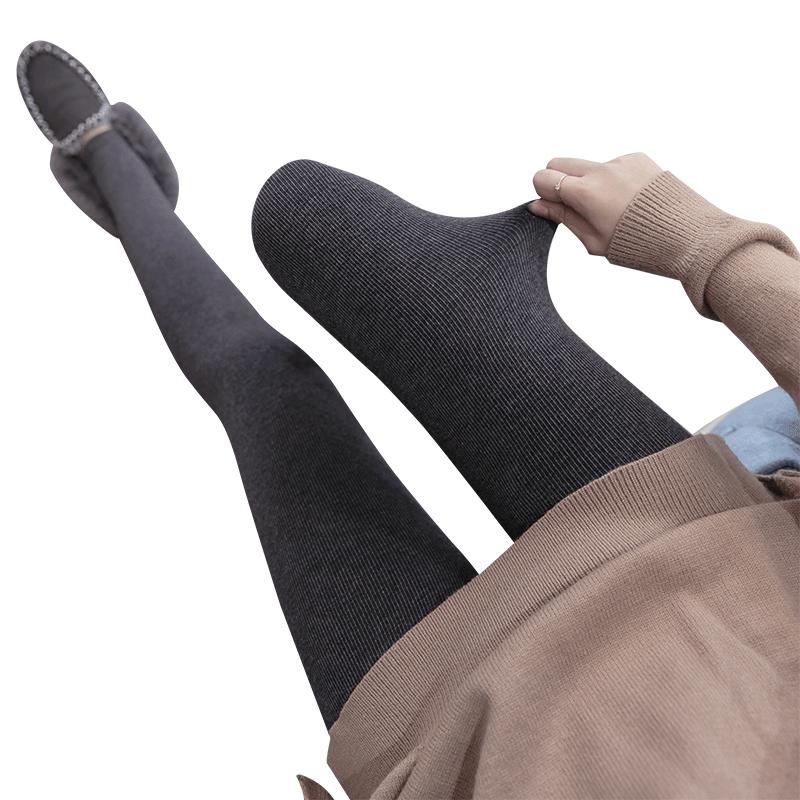 秋冬季加绒打底裤女裤外穿螺纹内穿黑灰色秋裤加厚保暖棉裤连裤袜