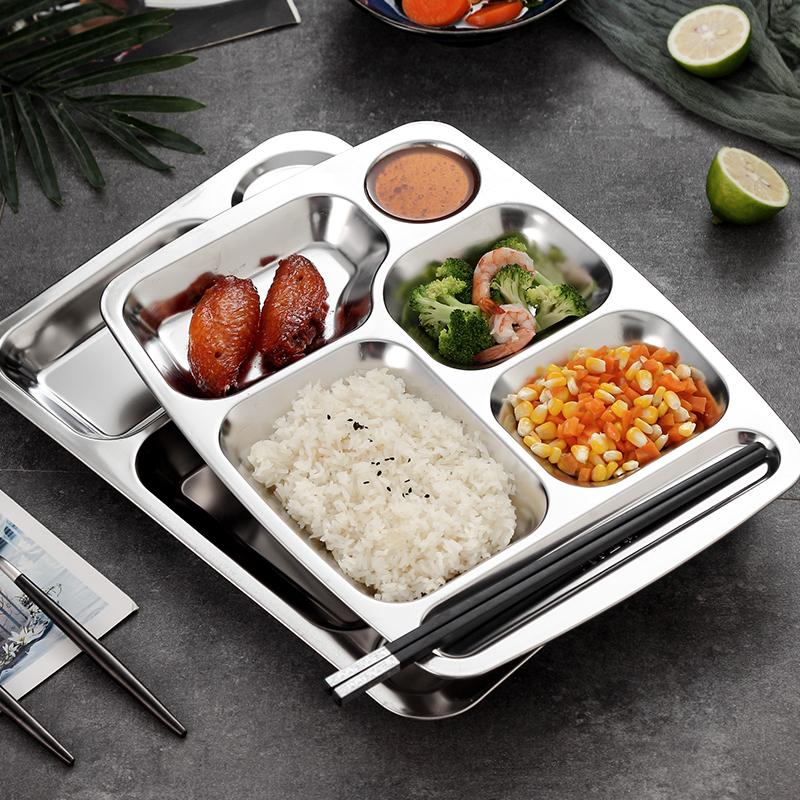 食堂304不锈钢饭盒多格自助餐盘子
