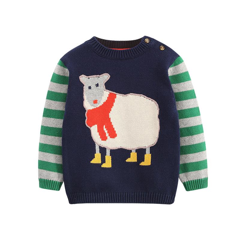 拉比樹 冬裝新品 男童女童條紋毛衣 嬰幼兒寶寶針織衫套頭上衣