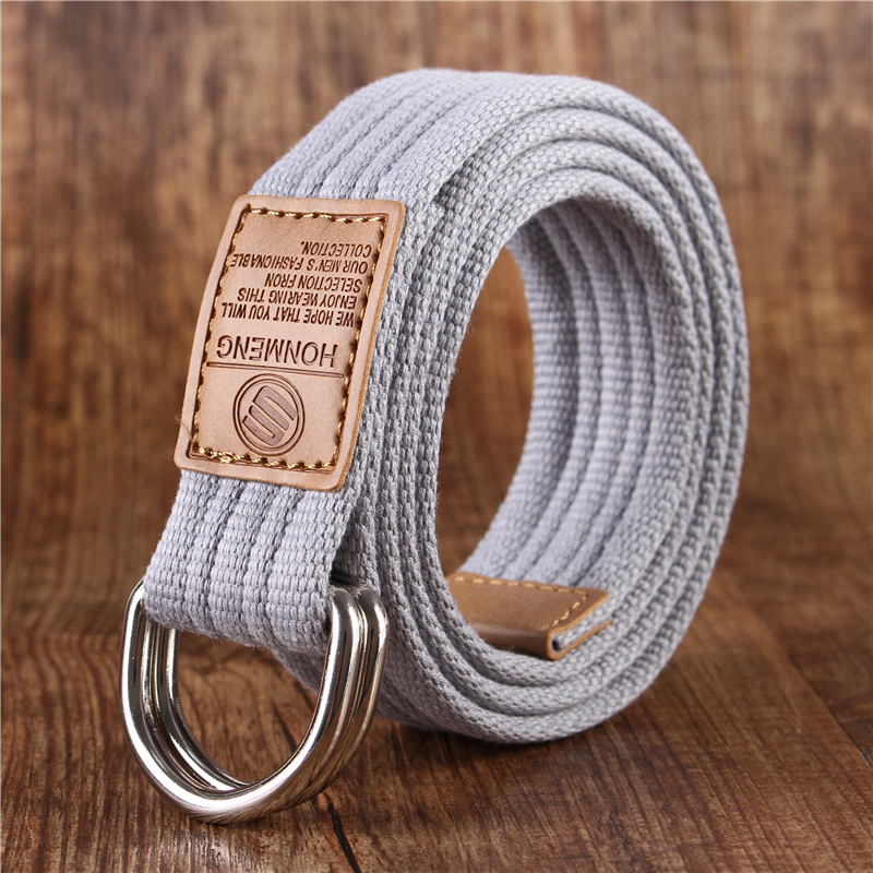 Canvas belt mens belt young students Korean double buckle Jeans Belt simple Hong Kong Style cloth belt mens and womens fashion
