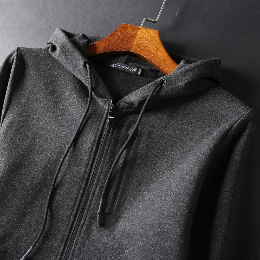 Autumn thin Hooded Sweater mens zipper cardigan loose large versatile casual sports top solid coat