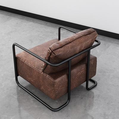 北欧单人沙发小户型轻奢简约布艺沙发现代复古工业风铁艺懒人卡座