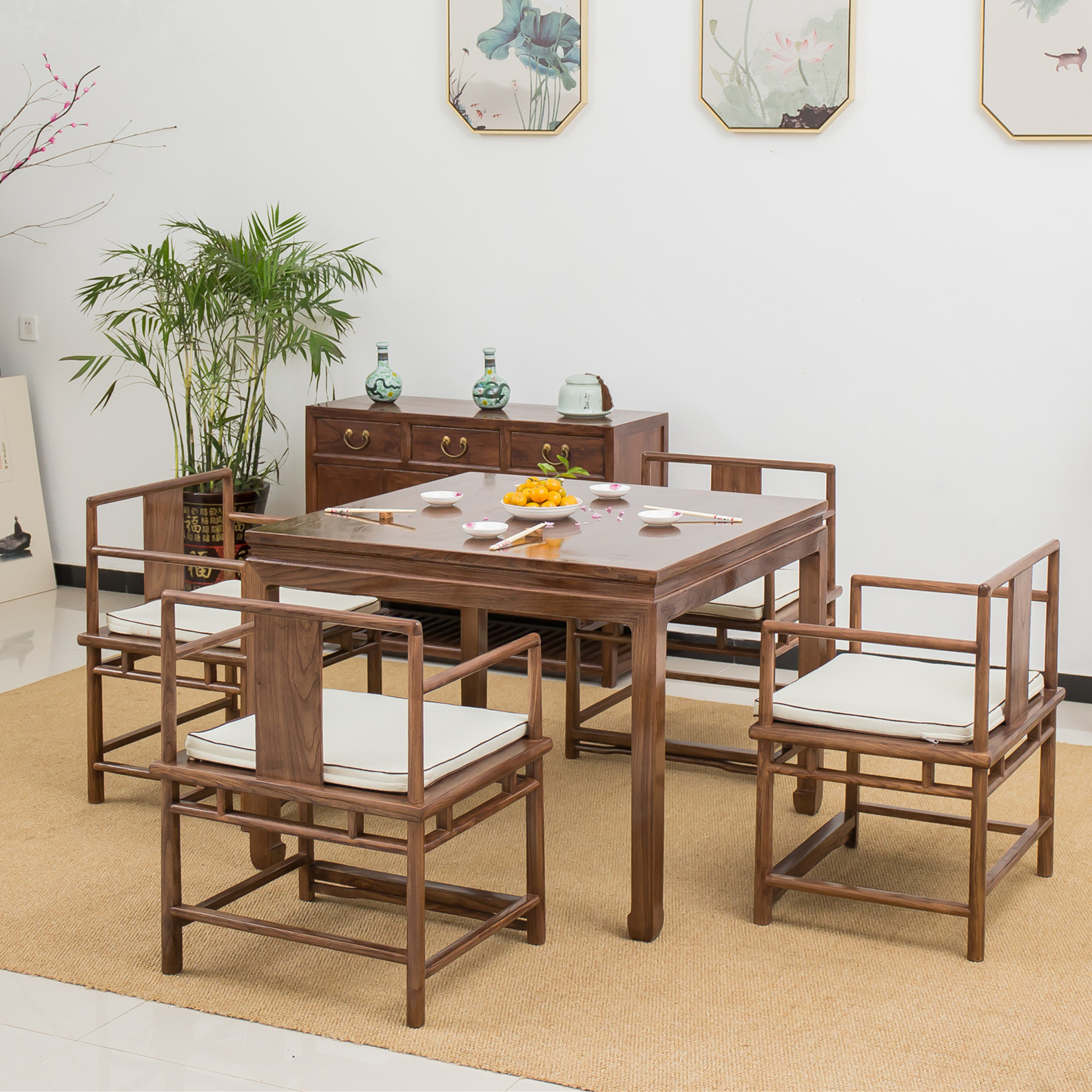 New Chinese style solid wood tea table and chair combination black walnut Zen furniture old elm tea table square table