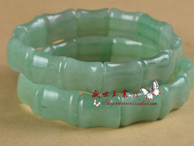 Natural authentic Indian Dongling jade and bamboo hand platoon Yang green grass green floating flower mens and womens Fashion Bracelet