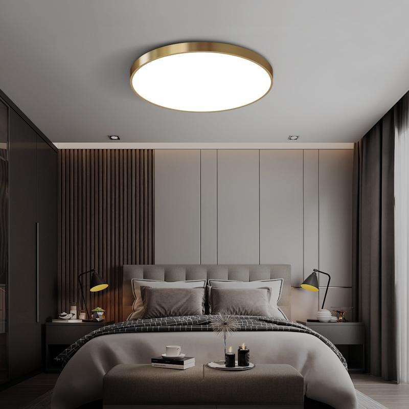吸顶灯简约现代卧室房间过道灯书房客房阳台圆形灯具节能led全铜